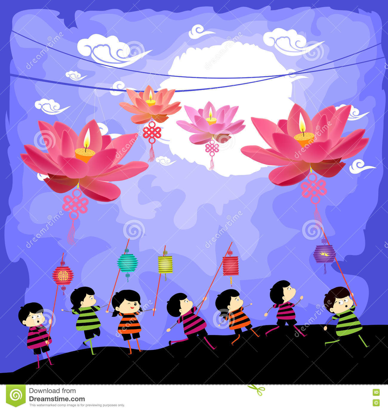 Mid autumn festival background with kids playing lanterns stock mid autumn festival background with kids playing lanterns royalty free stock image toneelgroepblik Image collections