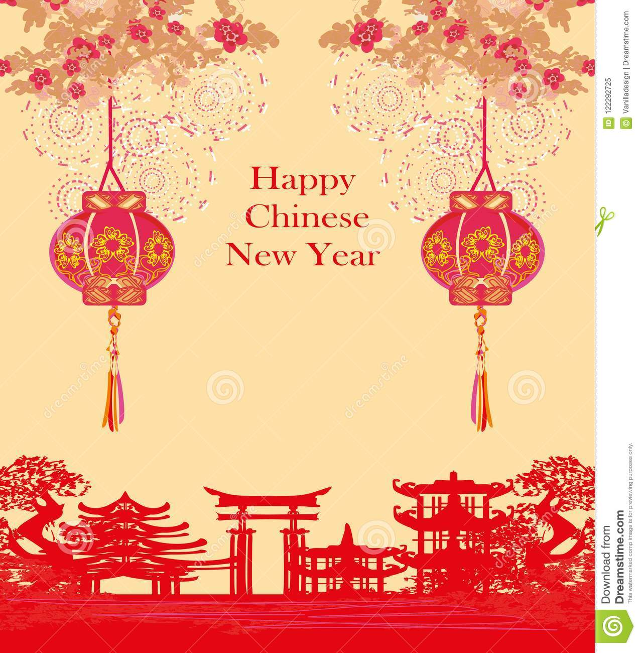 Mid Autumn Festival For Chinese New Year Card Stock Vector