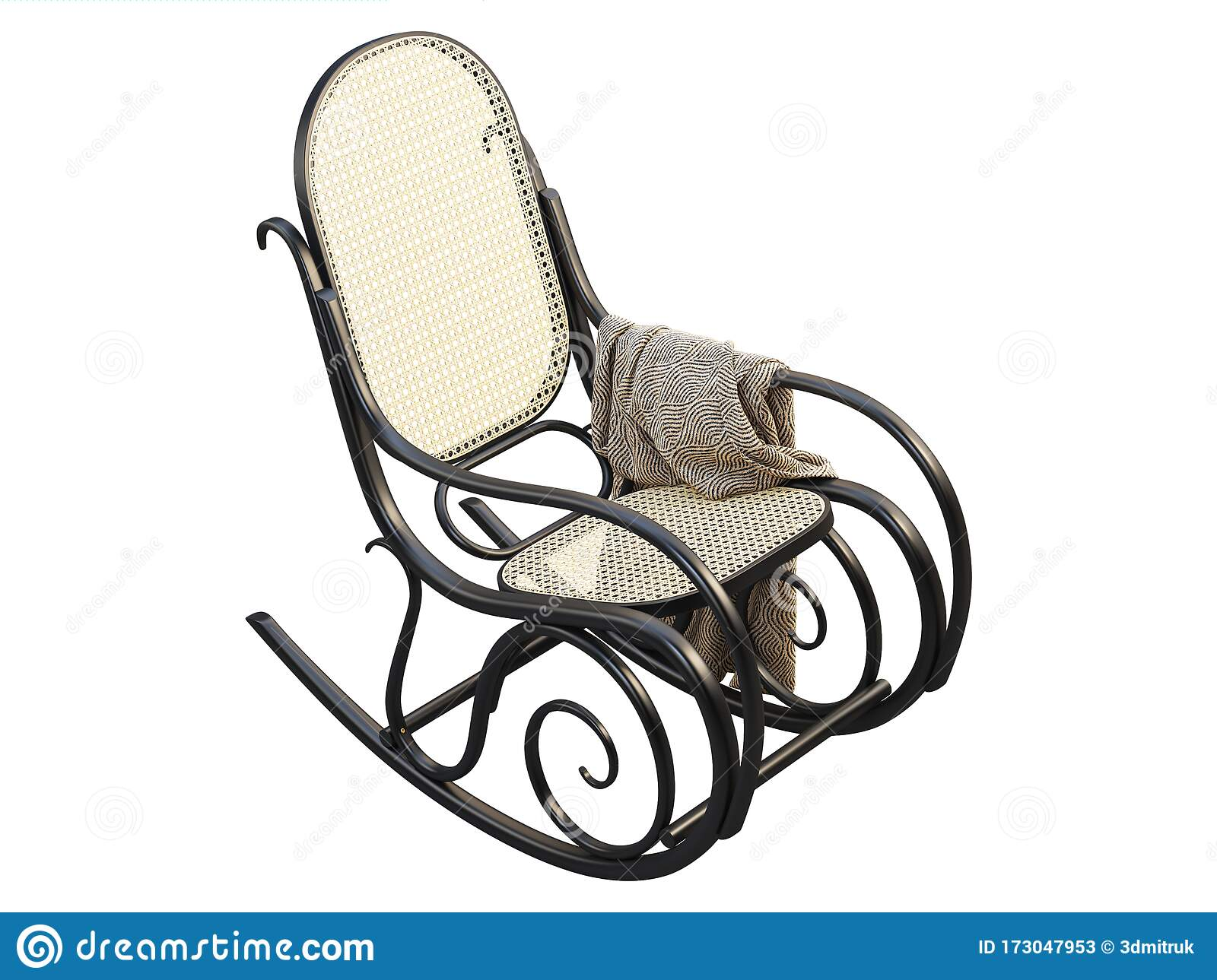 Picture of: Mid Century Bent Beech Wood Rocking Chair With Blanket 3d Render Stock Illustration Illustration Of Background Lacquered 173047953