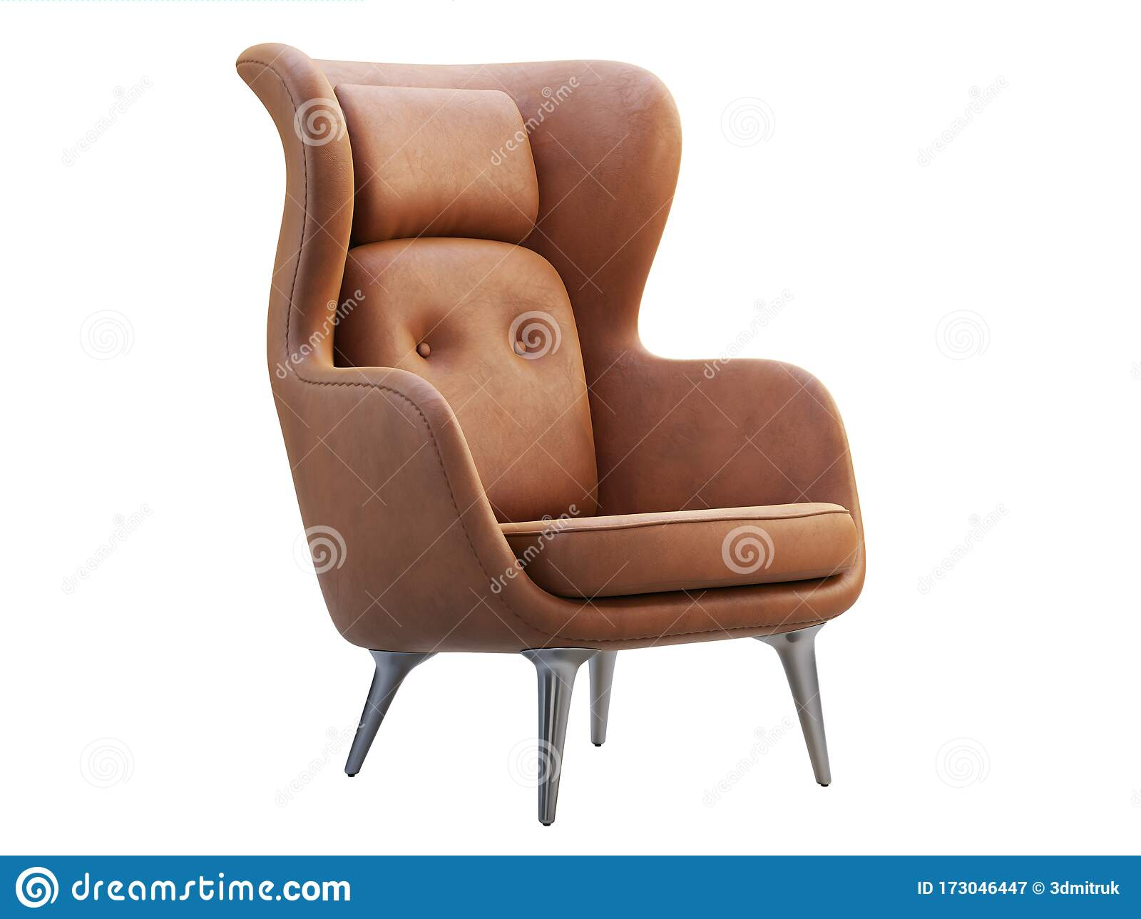 Mid Century Brown Leather Wing Chair 3d Render Stock Illustration Illustration Of Metal Comfort 173046447