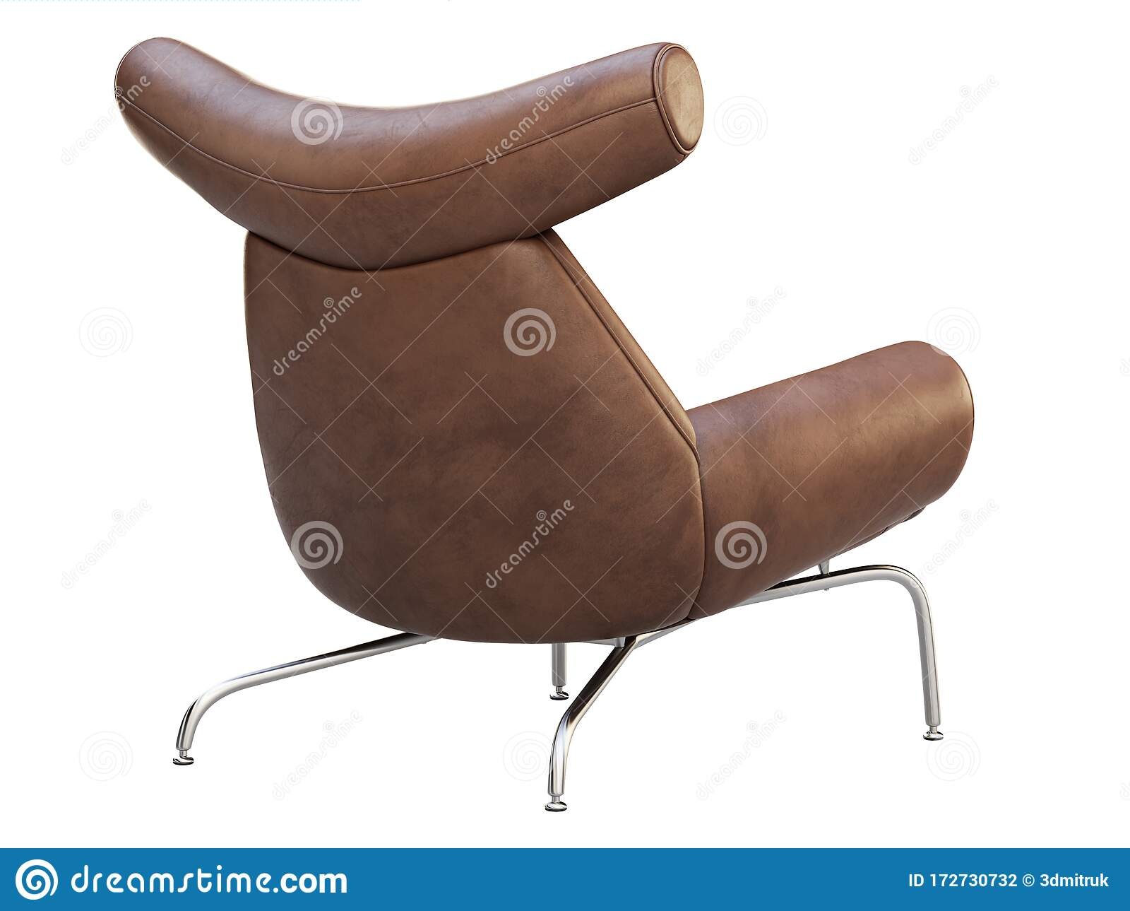 Mid Century Brown Leather Wing Chair 3d Render Stock Illustration Illustration Of Folds Chromium 172730732