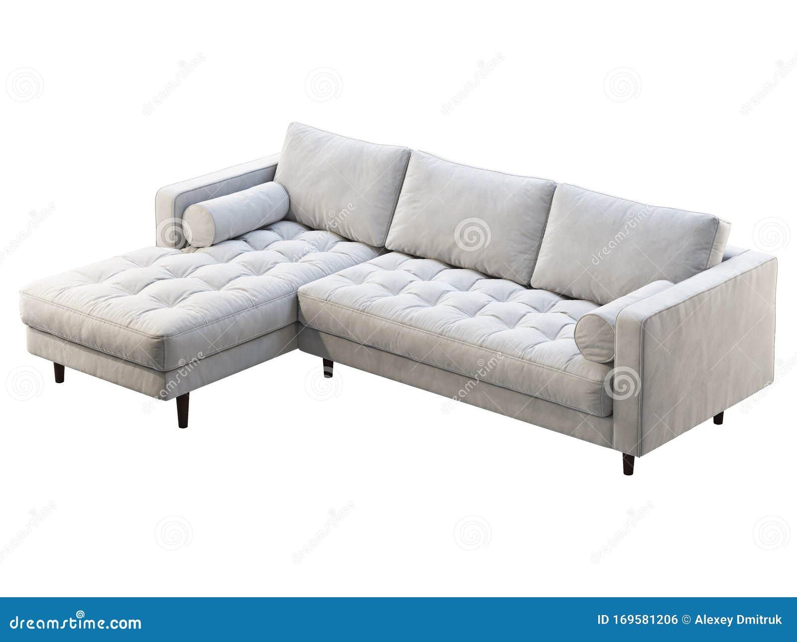 Mid Century Corner White Velvet Upholstery Sofa With Chaise Lounge 3d Render Stock Illustration Illustration Of Interior Bauhaus 169581206