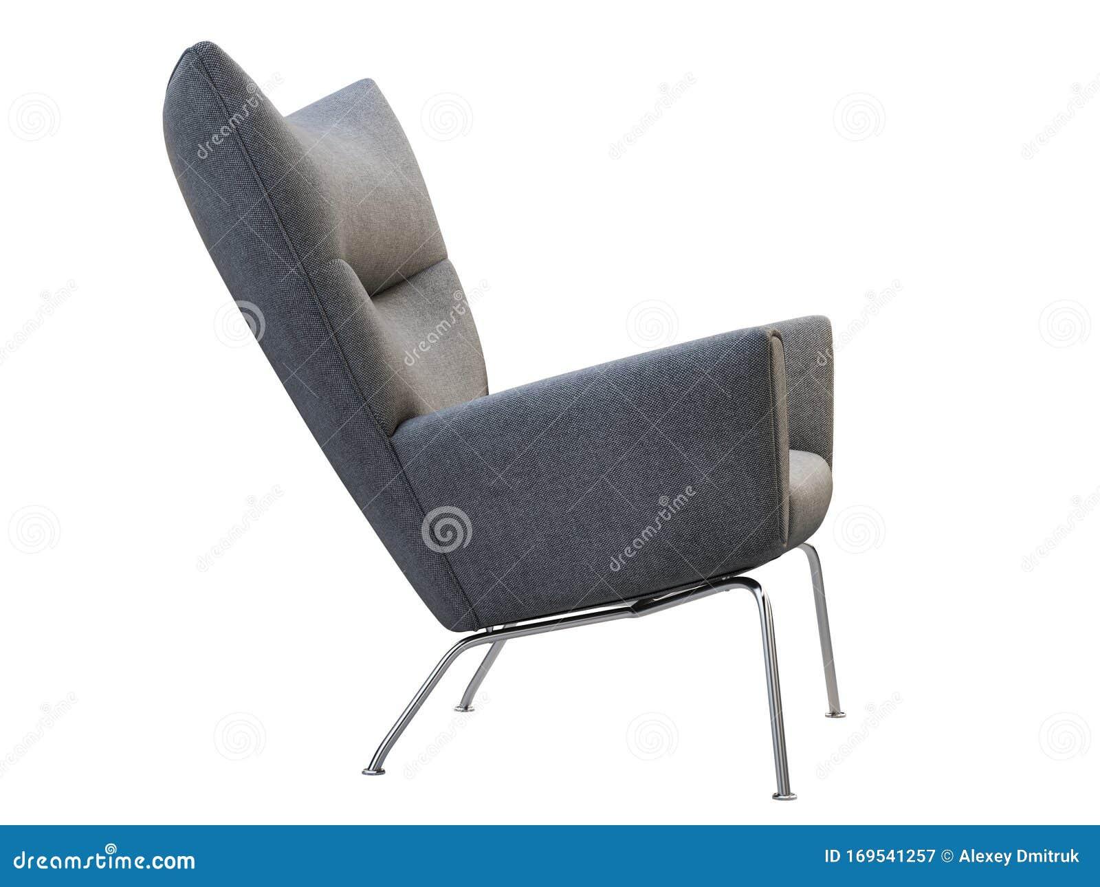 Mid Century Dark Gray Fabric Wing Chair 3d Render Stock Illustration Illustration Of Midcentury Comfortable 169541257