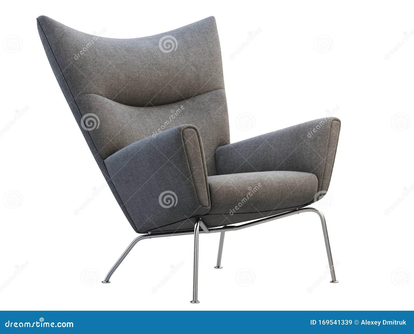 Mid Century Dark Gray Fabric Wing Chair 3d Render Stock Illustration Illustration Of Background Living 169541339
