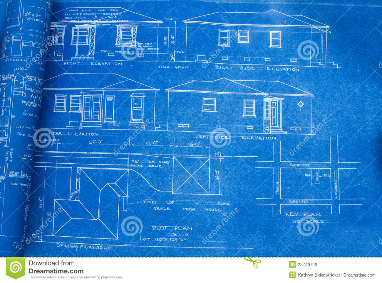 Mid Century Home Blueprint Royalty Free Stock Image