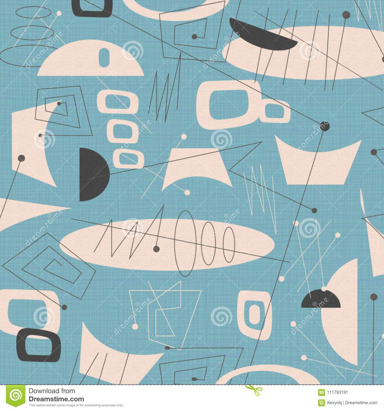 Mid Century Modern Fabric Background Blue Stock Illustration