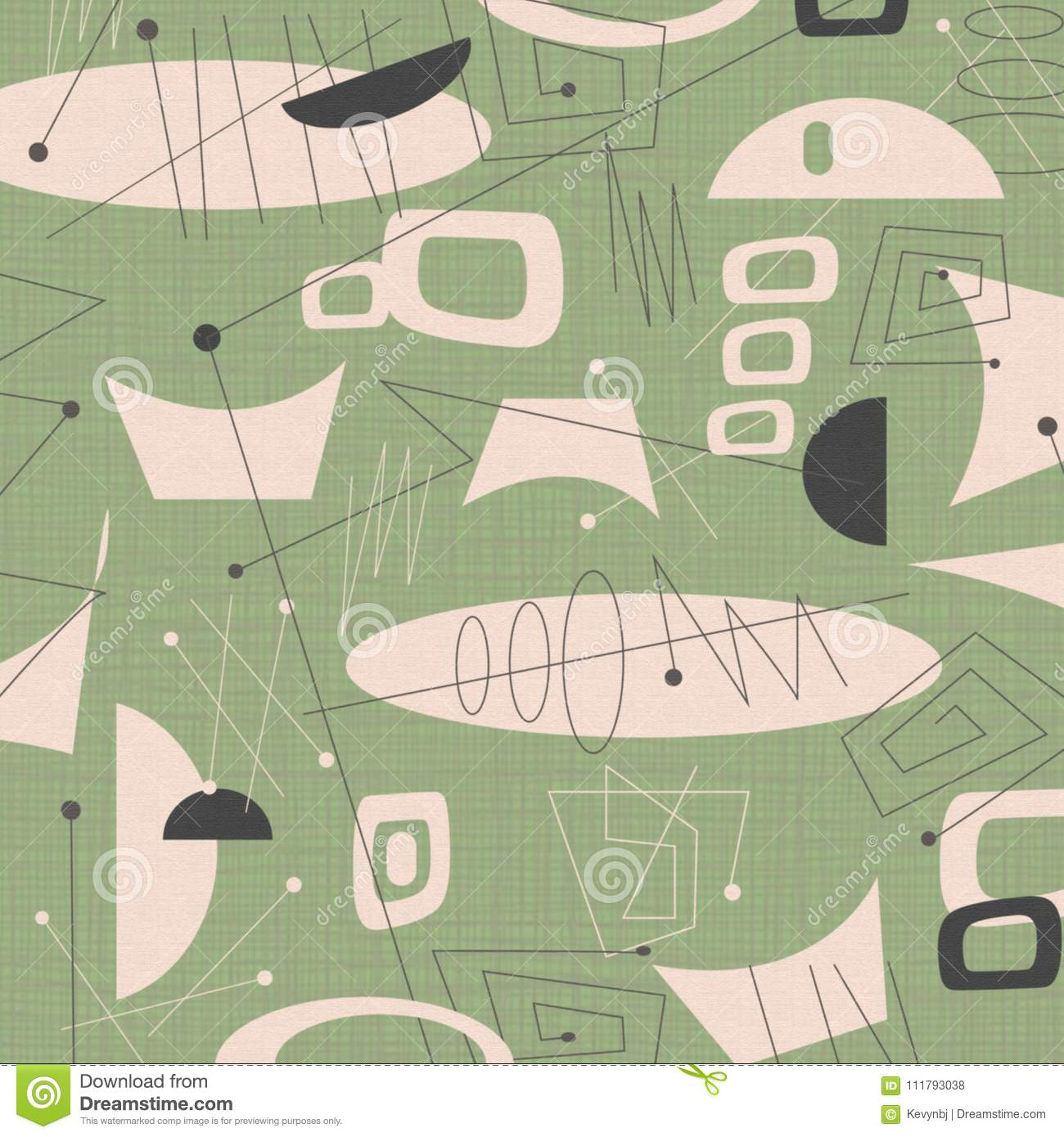 Mid Century Modern Fabric Background Green Stock Illustration