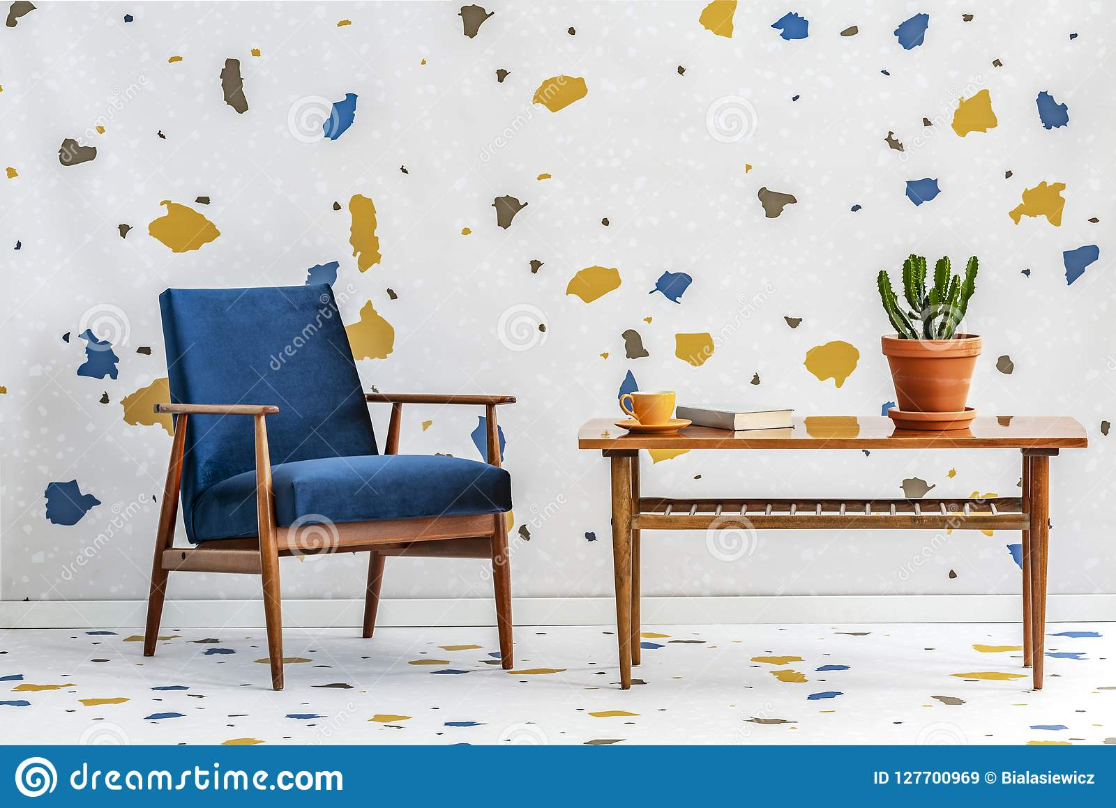Fabulous Mid Century Modern Navy Blue Armchair And A Retro Wooden Inzonedesignstudio Interior Chair Design Inzonedesignstudiocom