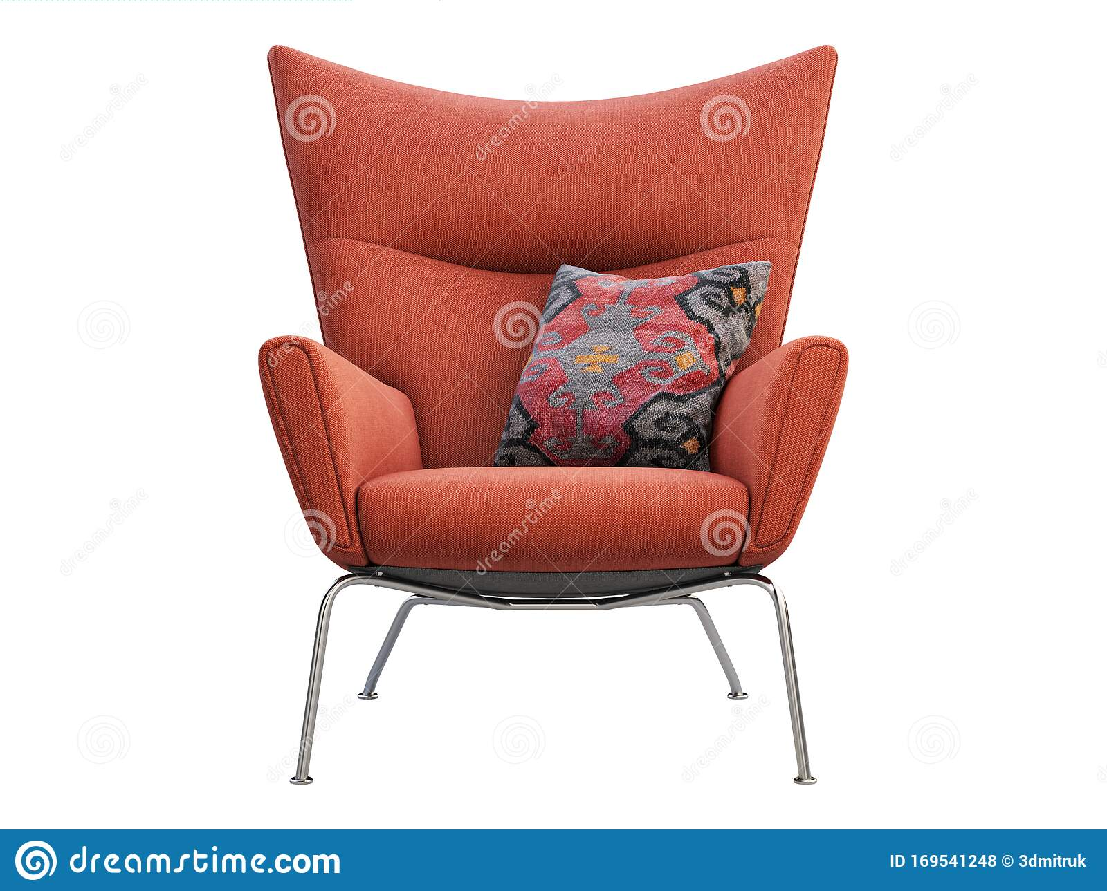 Mid Century Red Fabric Wing Chair With Pillow 3d Render Stock Illustration Illustration Of Living Interior 169541248