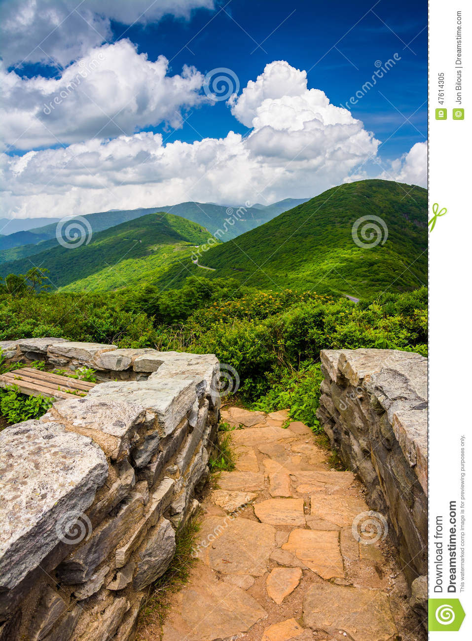 Mid-day view of the Appalachian Mountains from Craggy Pinnacle,