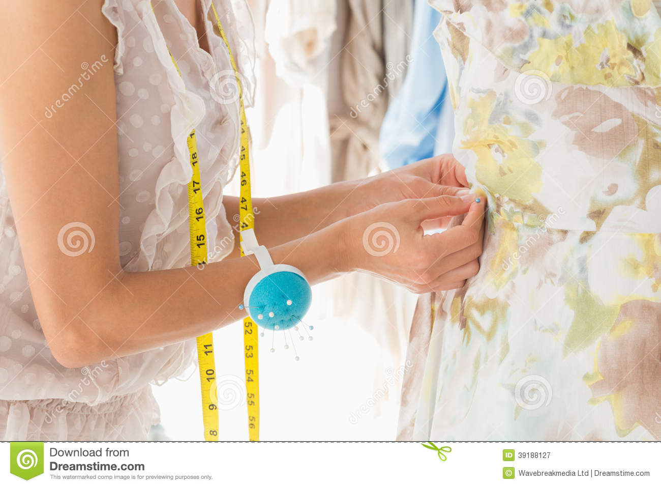 Mid Section Of A Fashion Designer Working On Her Designs Royalty Free Stock Photography