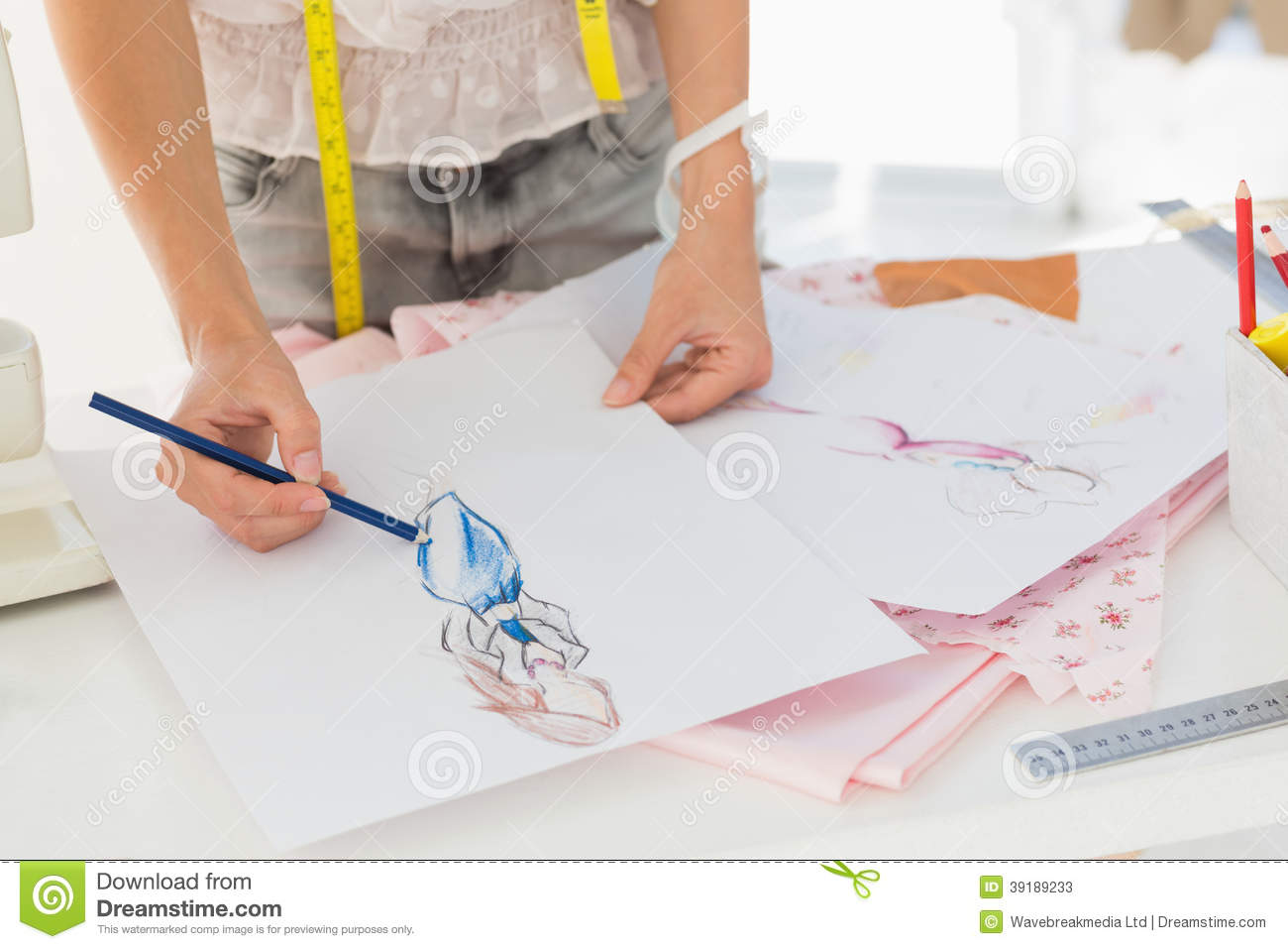 Mid Section Of A Fashion Designer Working On Her Designs Stock Image Image Of Studio View 39189233