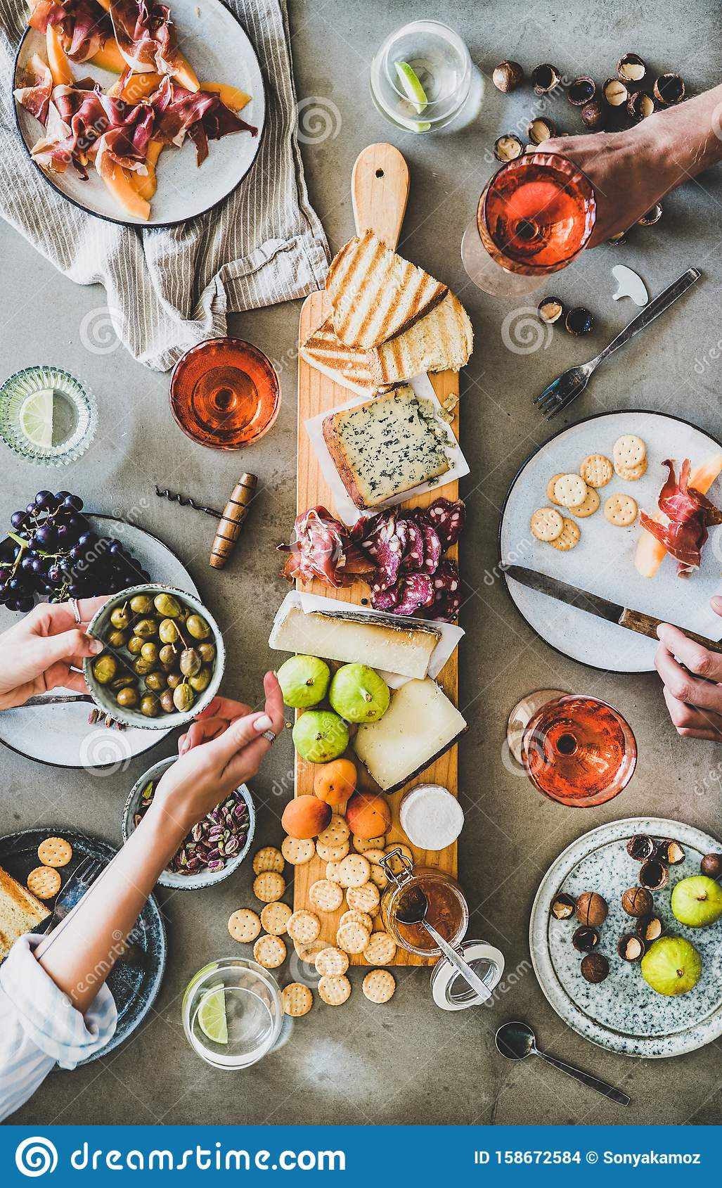 Seasonal Picnic With Rose Wine Cheese Charcuterie And Appetizers Stock Photo Image Of Bottle Meal 158672584