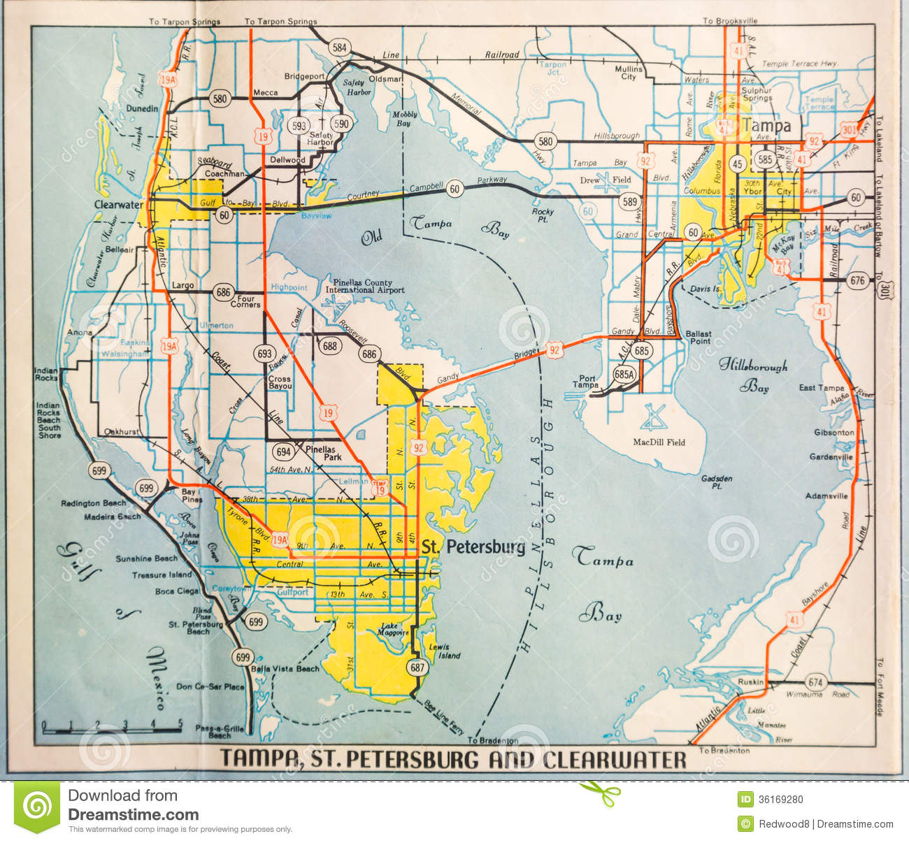 Map Of Tampa Bay Florida.Mid Twentieth Century Map Of Tampa Stock Photo Image Of Florida
