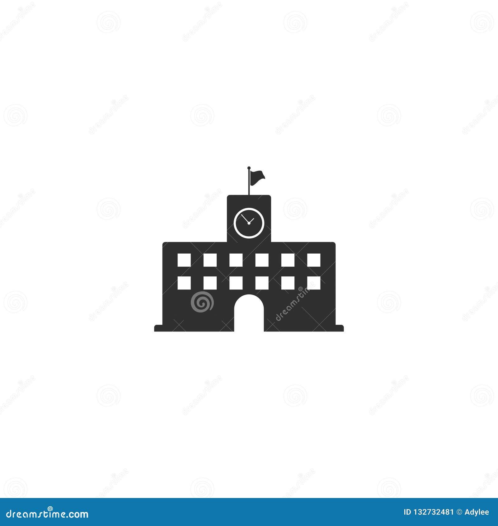 Middelbare school de vector van het de bouwpictogram isoleerde 3