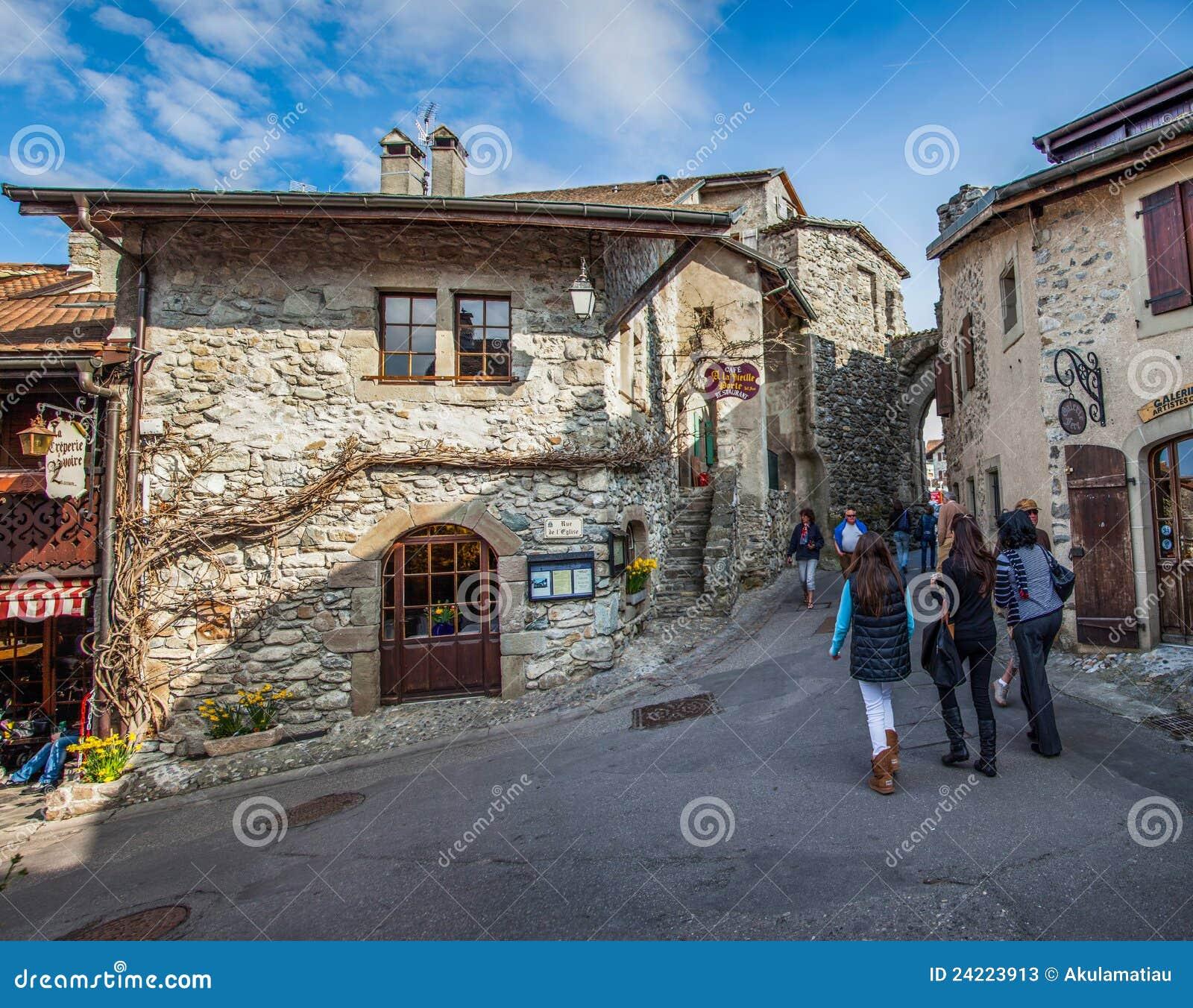 Middeleeuwse Mening II, Yvoire, Frankrijk van de Straat van het Dorp