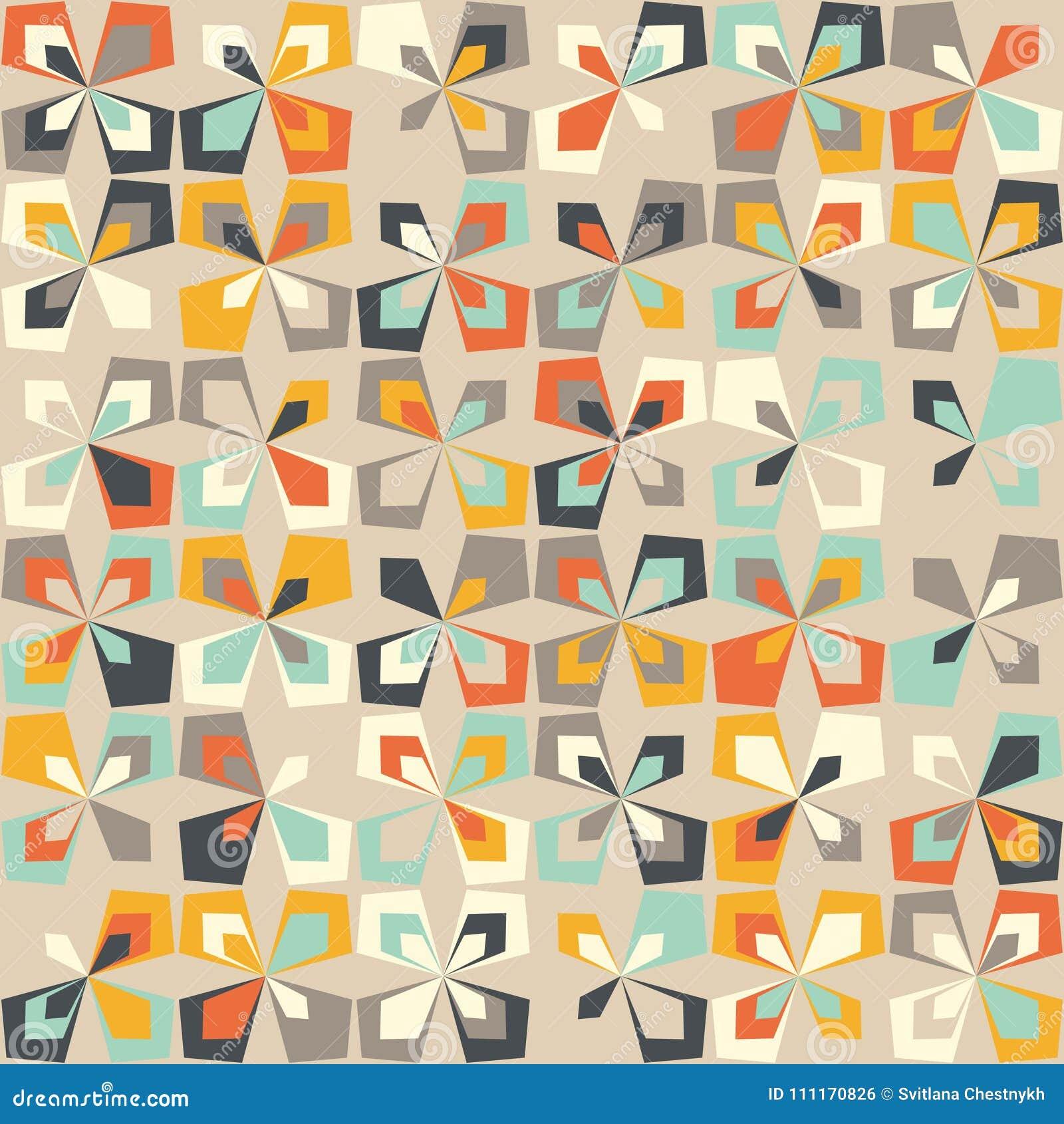 Betere Midden Van De Eeuw Geometrisch Retro Patroon, Uitstekende Kleuren WR-93