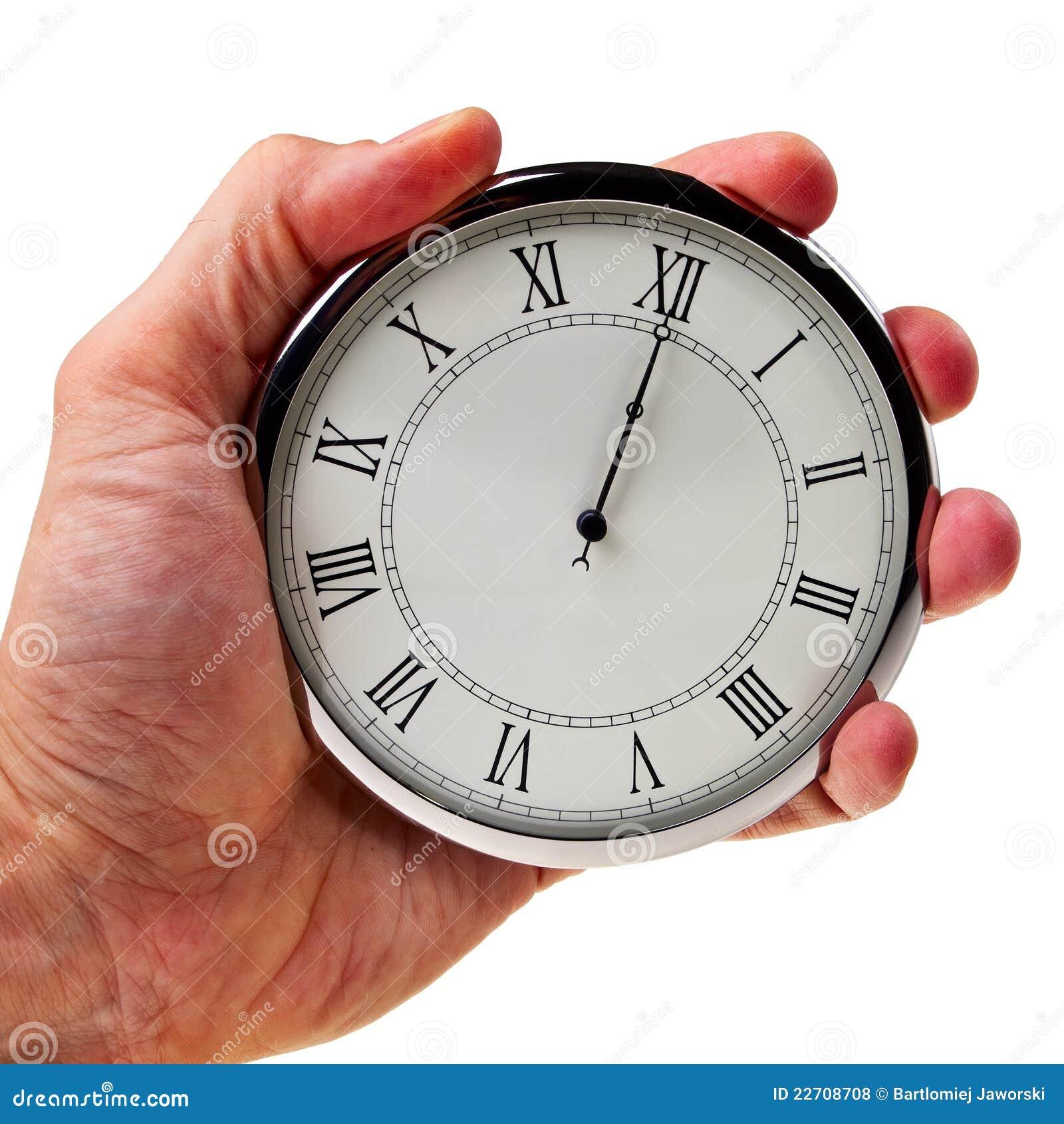 Middernacht of middag op retro horloge.
