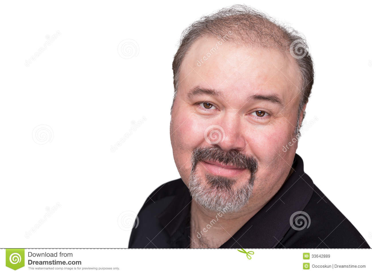 Middle aged man with his goatee looking at camera trustfully and ...