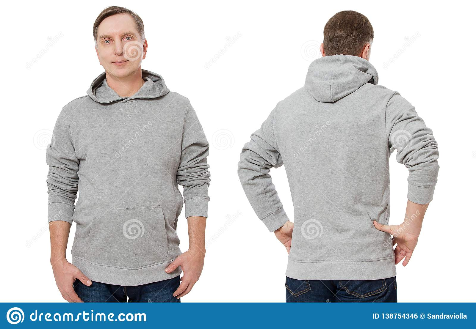 Middle age man in gray sweatshirt template isolated. Male sweatshirts set with mockup, copy space. Sweat shirt design front back