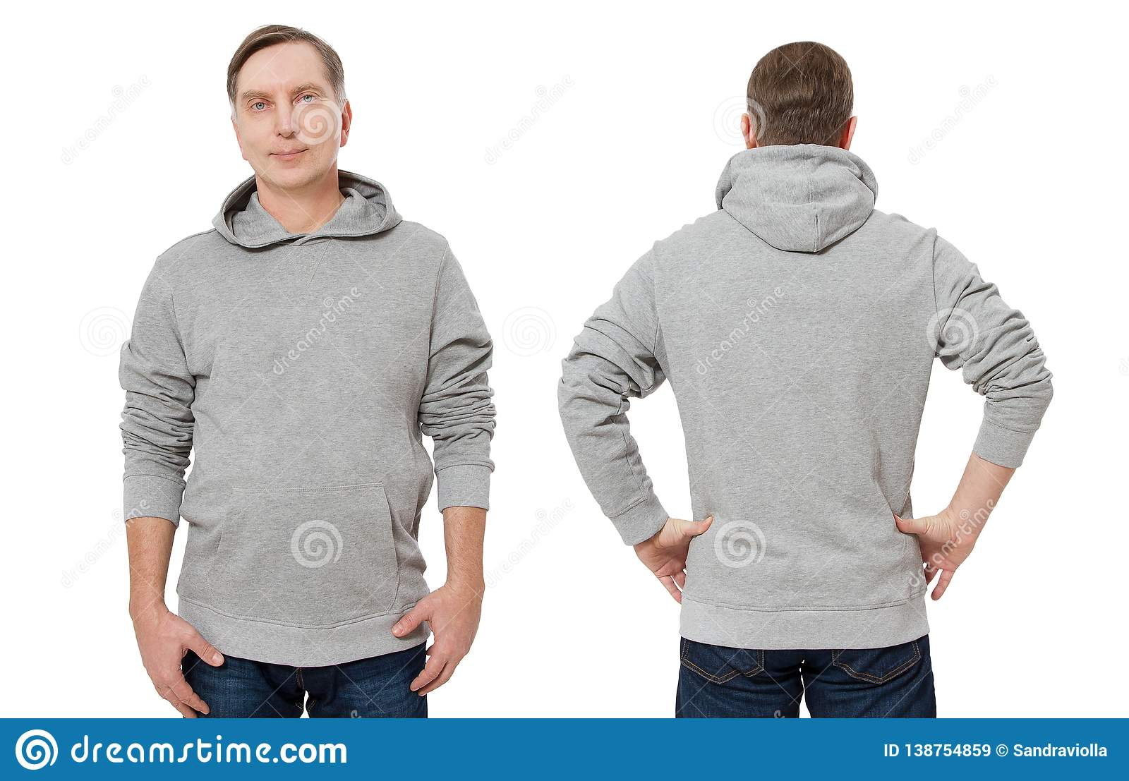 Man in gray sweatshirt template isolated. Male sweatshirts set with mockup and copy space. Sweat shirt design front back