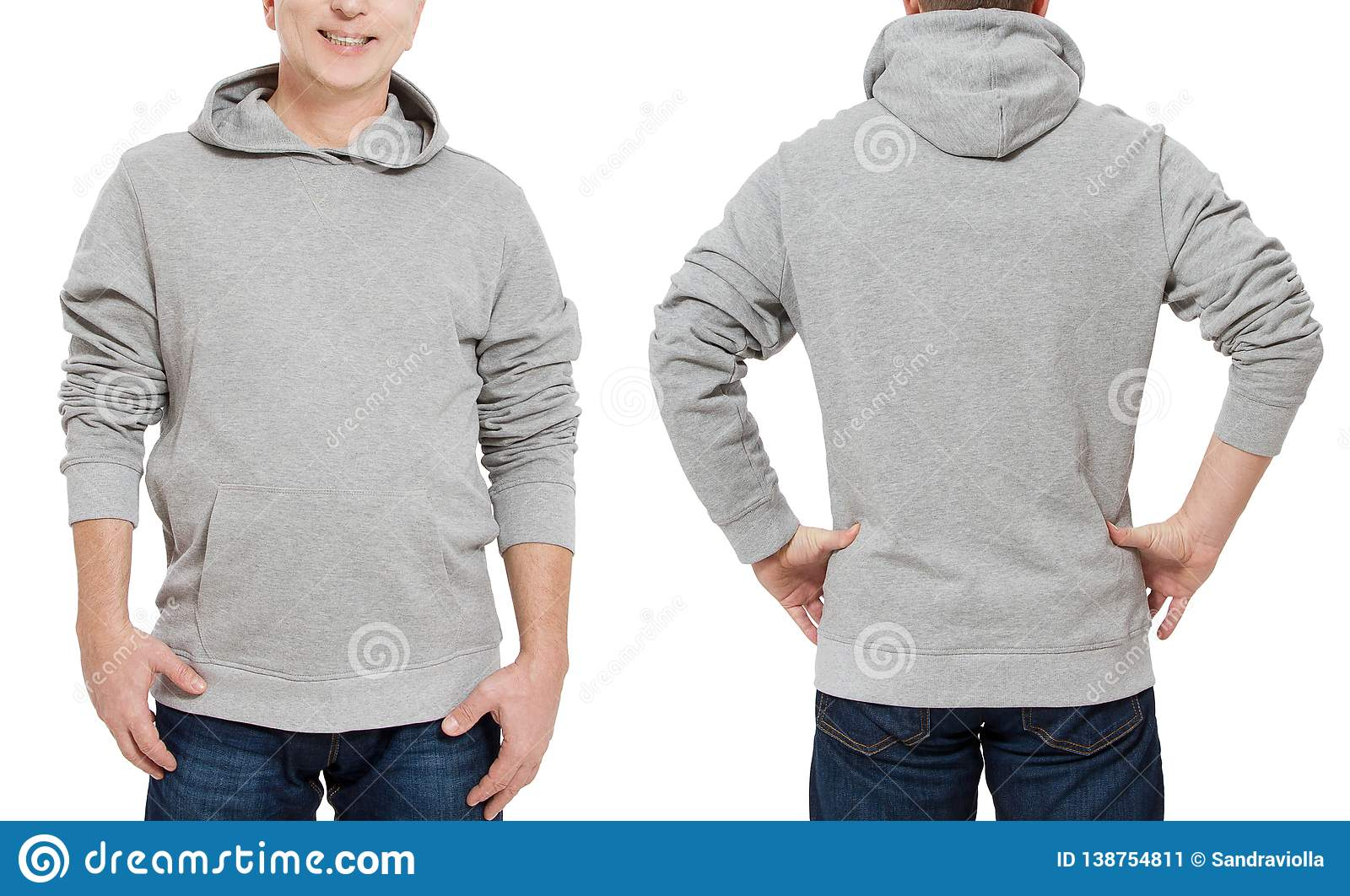 Middle age man in gray sweatshirt template isolated. Male sweatshirts set with mockup, copy space. Sweat shirt design front rear