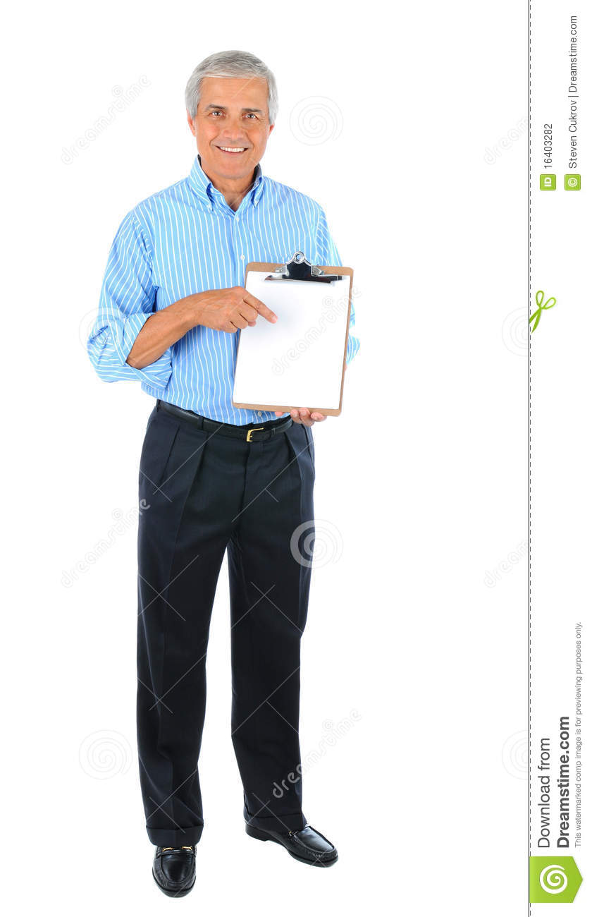 Middle aged Businessman with clip board