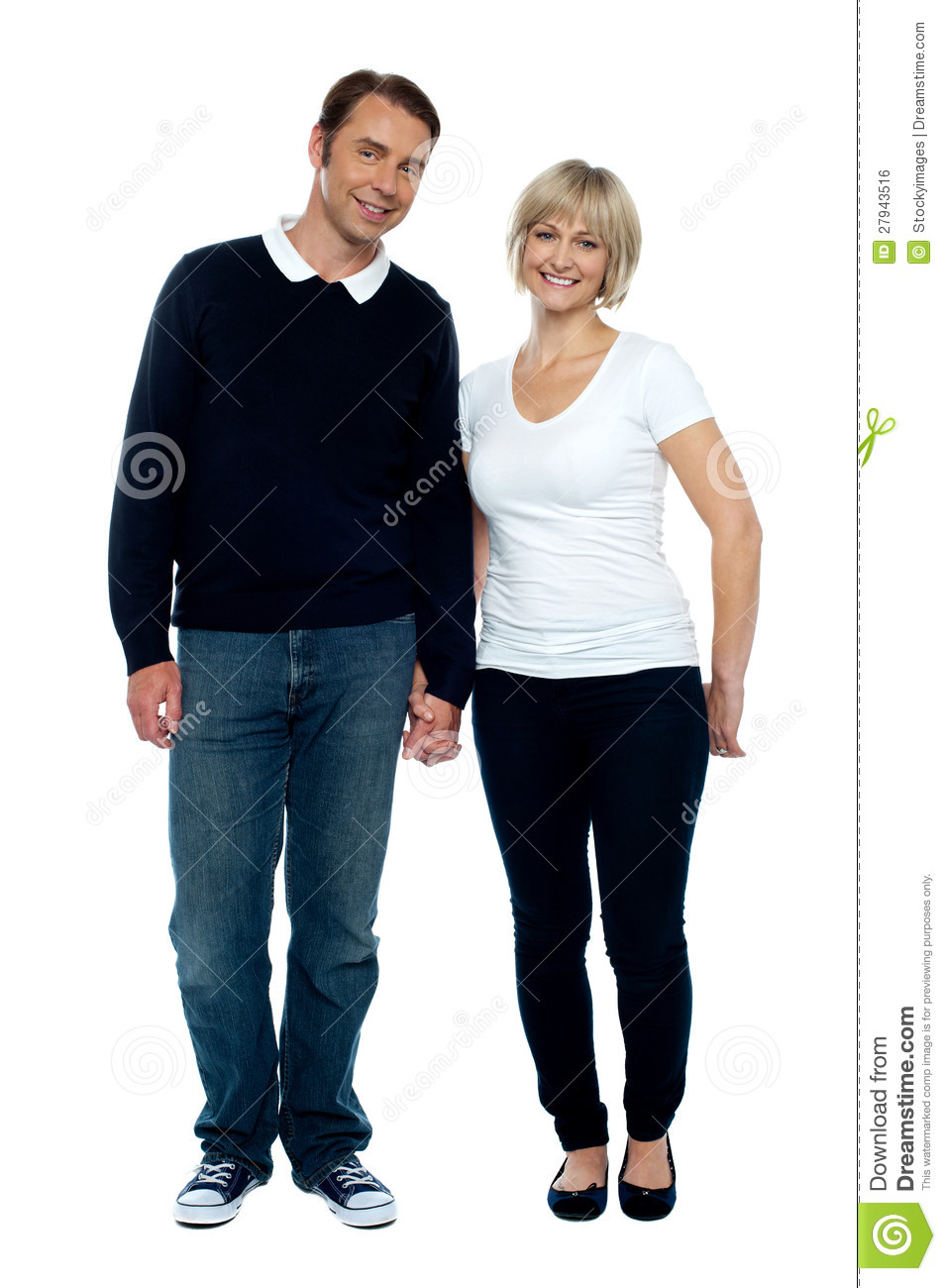 Middle Aged Couple Posing With Hand In Hand Royalty Free