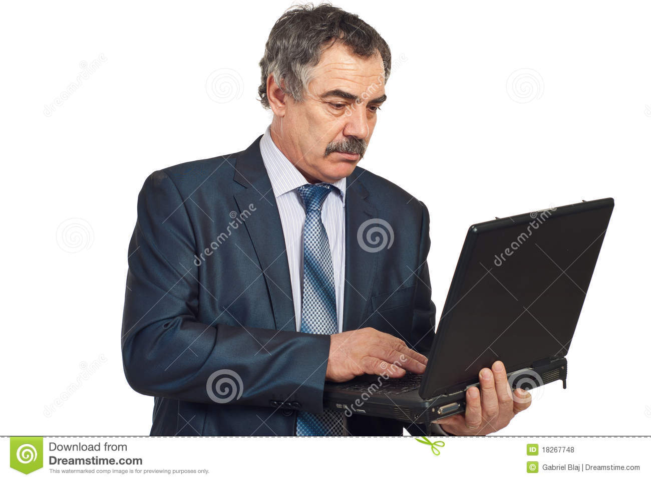 Middle Aged Executive Man Using Laptop Royalty Free Stock ...
