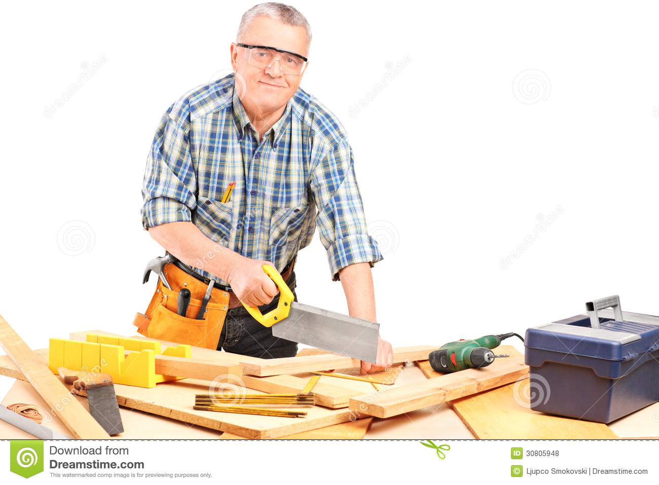 Middle Aged Male Carpenter Working In A Workshop Royalty ...
