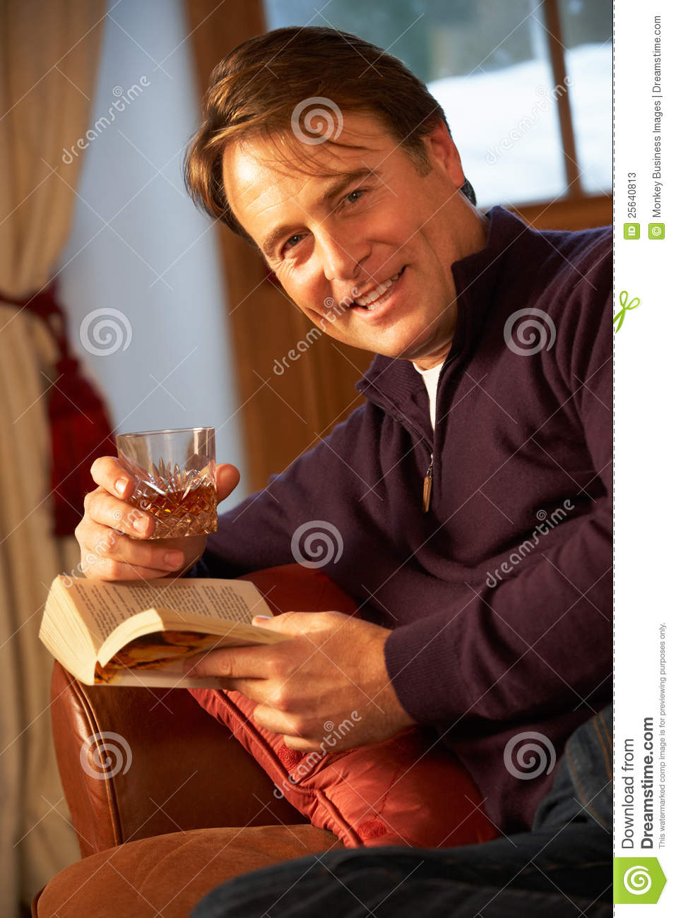 Middle Aged Man In Drinking Whisky Clipart