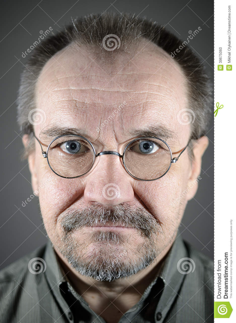 Middle Aged Man With Glasses Mustache And Beard Stock