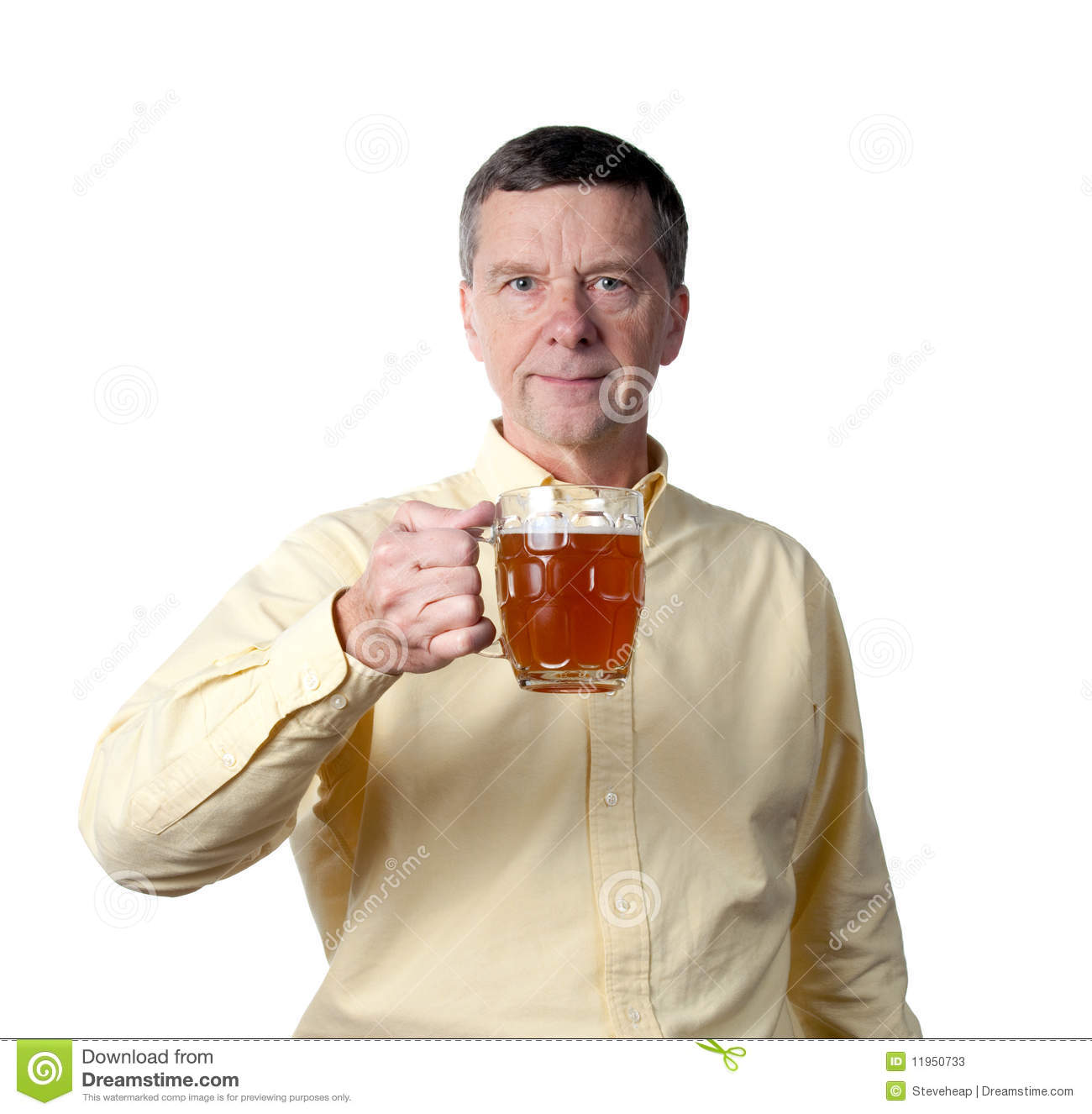 Middle aged man with pint of beer