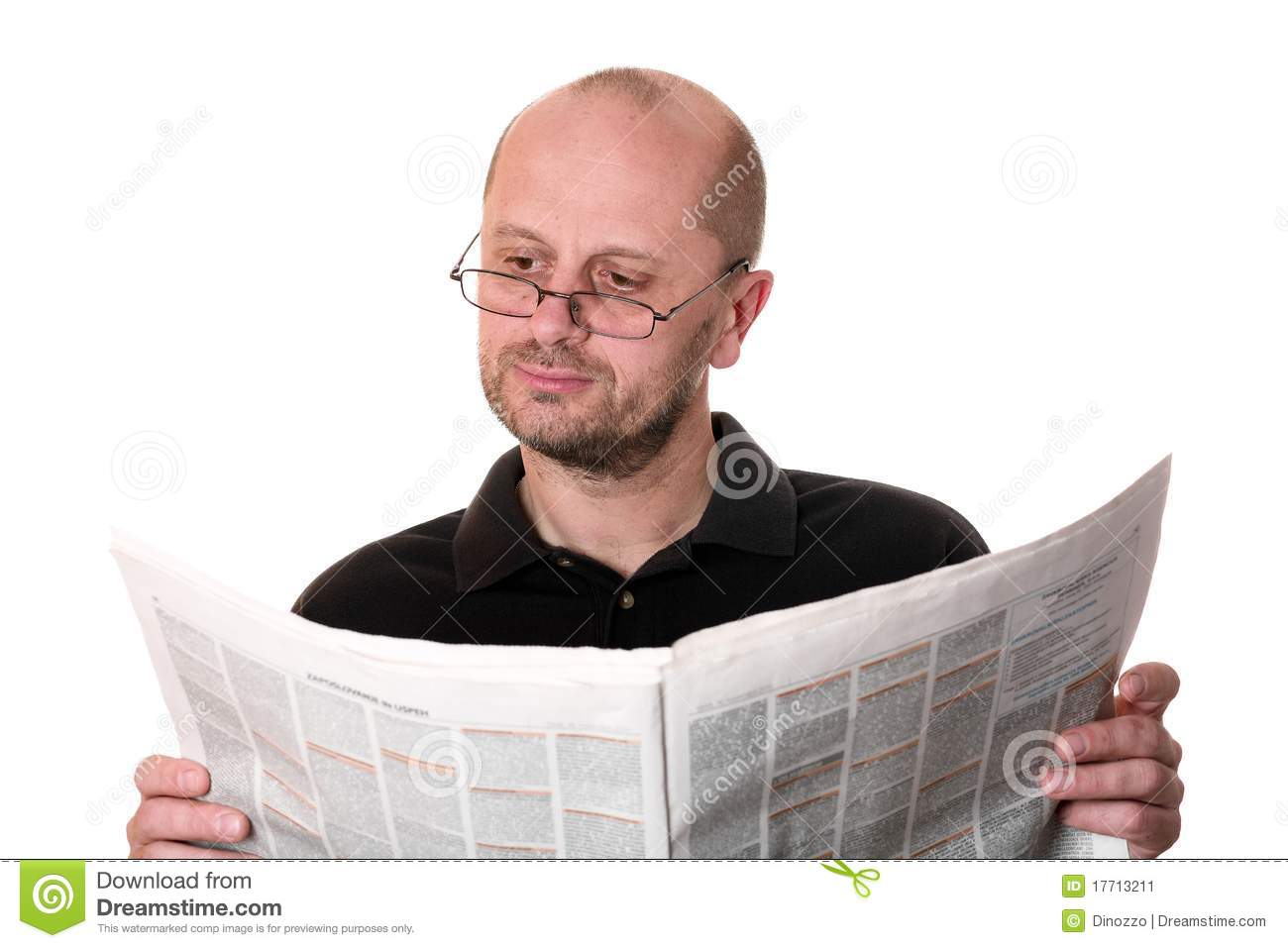 middle aged man reading newspaper stock image - image of relaxation