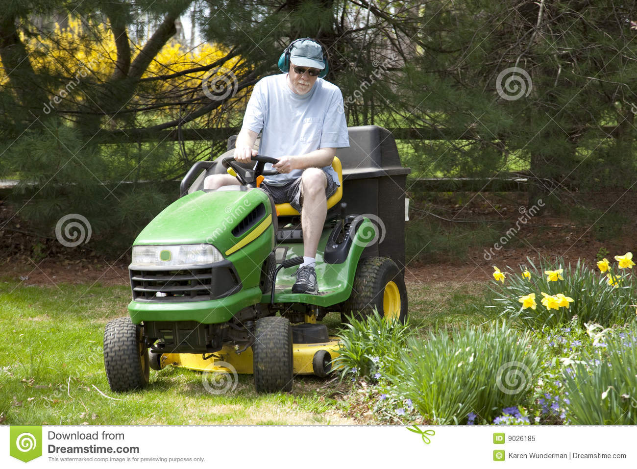 Middle Aged Man On Riding Lawn Mower Stock Image Image