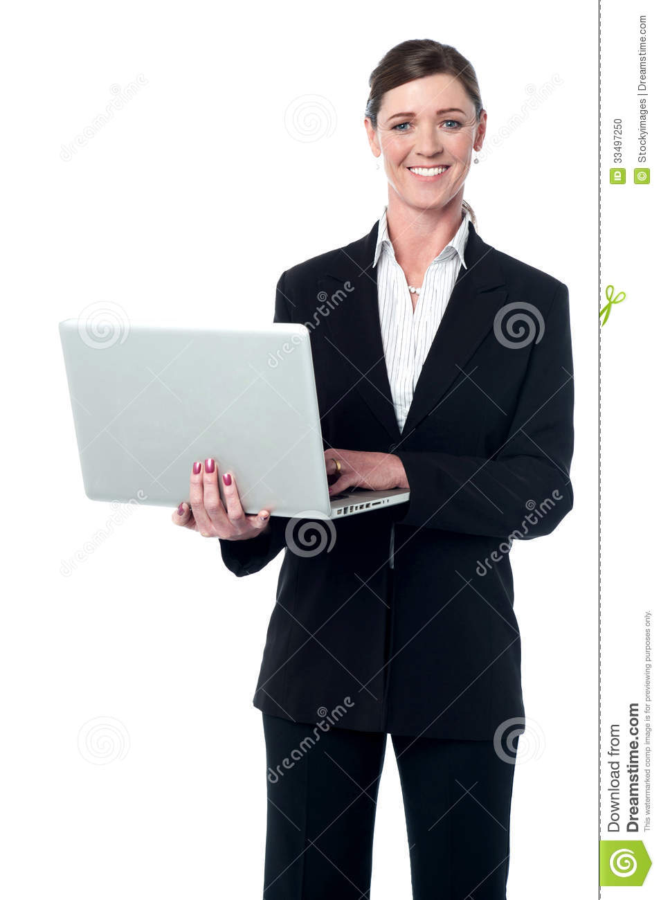 Middle Aged Professional Woman With Laptop Stock Photo