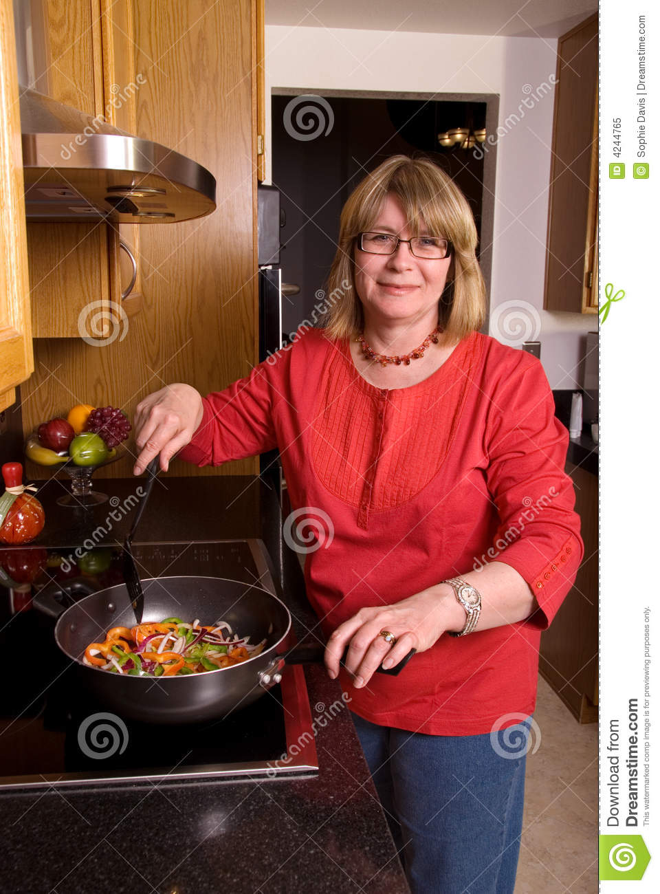 Middle Aged Woman Cooking Stock Image Image Of Mother