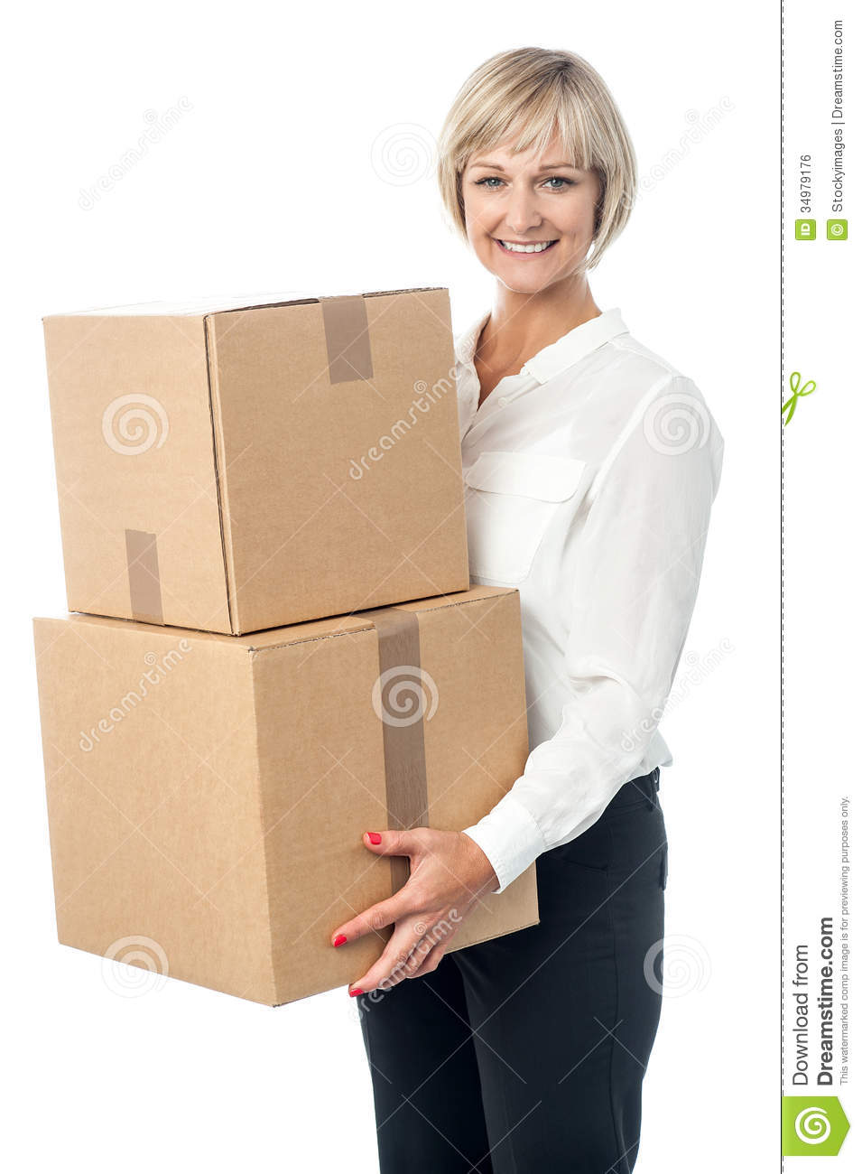 Middle Aged Woman Moving Packed Boxes Stock Photo Image