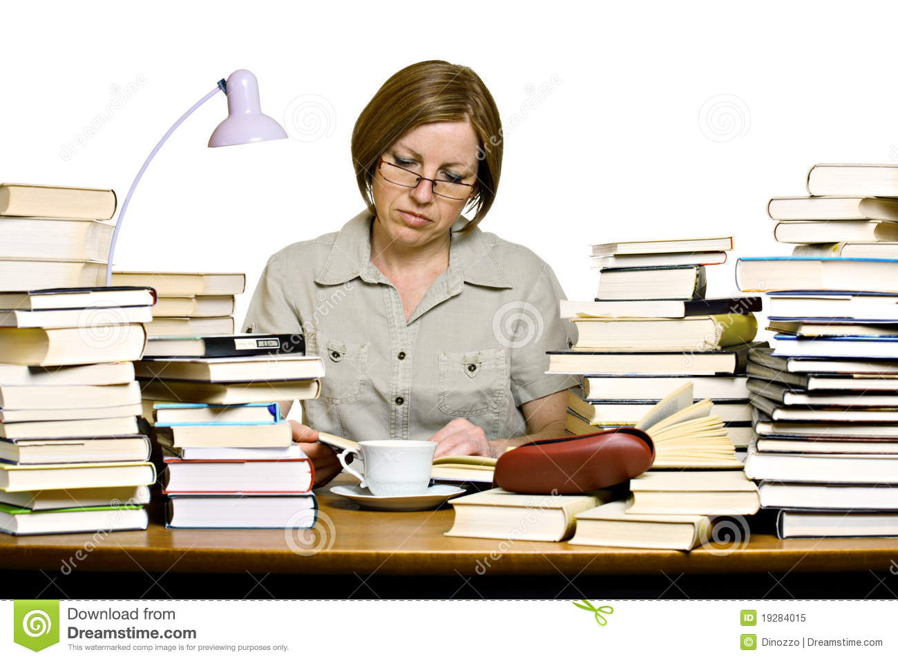 Middle Aged Woman Reading Books Stock Image Image Of