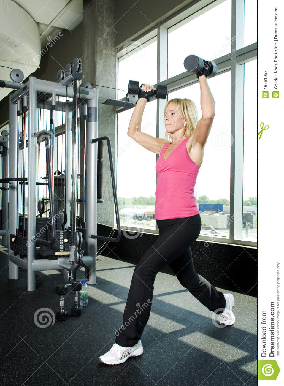 Middle Aged Woman Working Out With Weights Stock Image ...