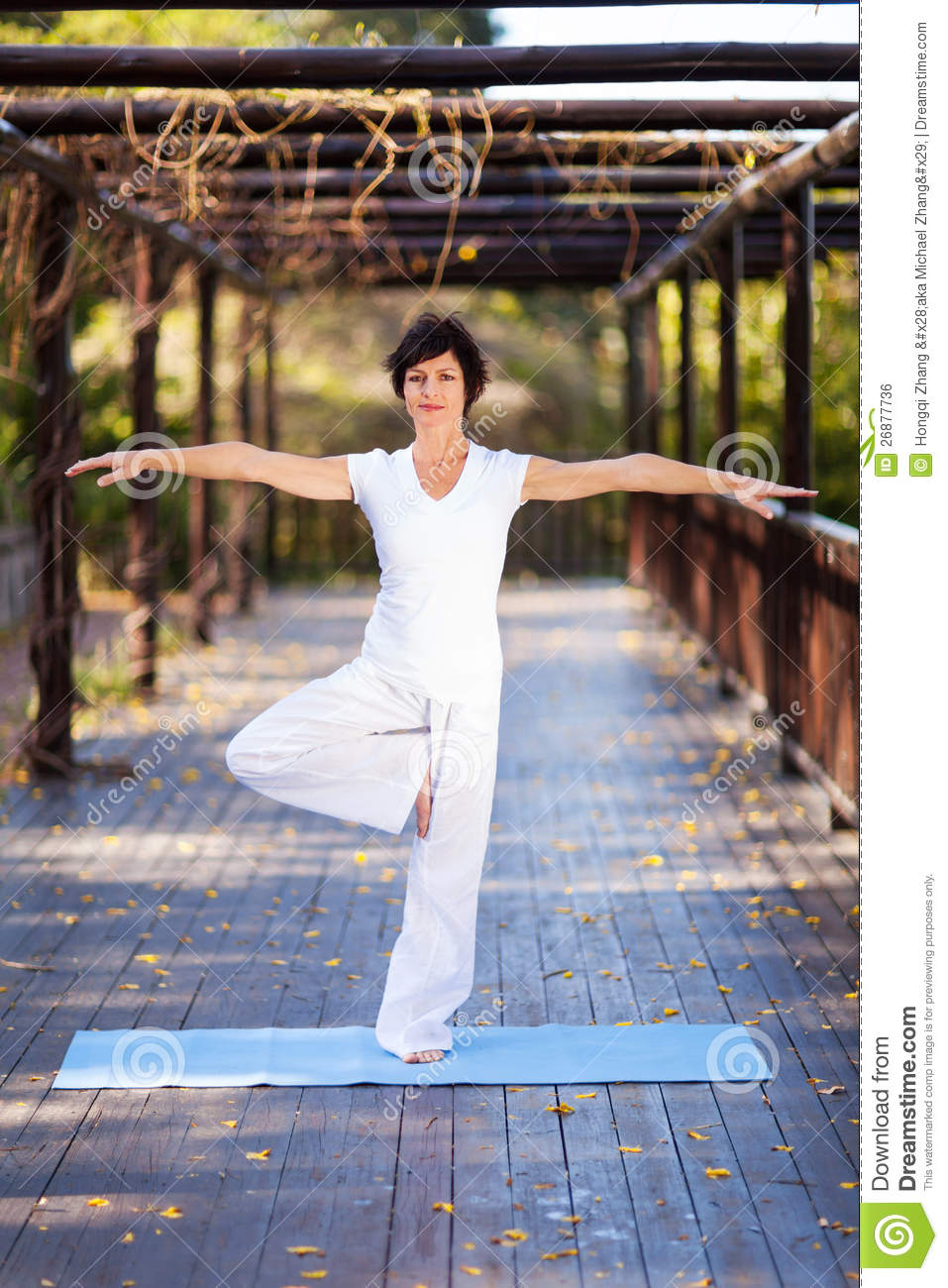 Middle aged woman yoga