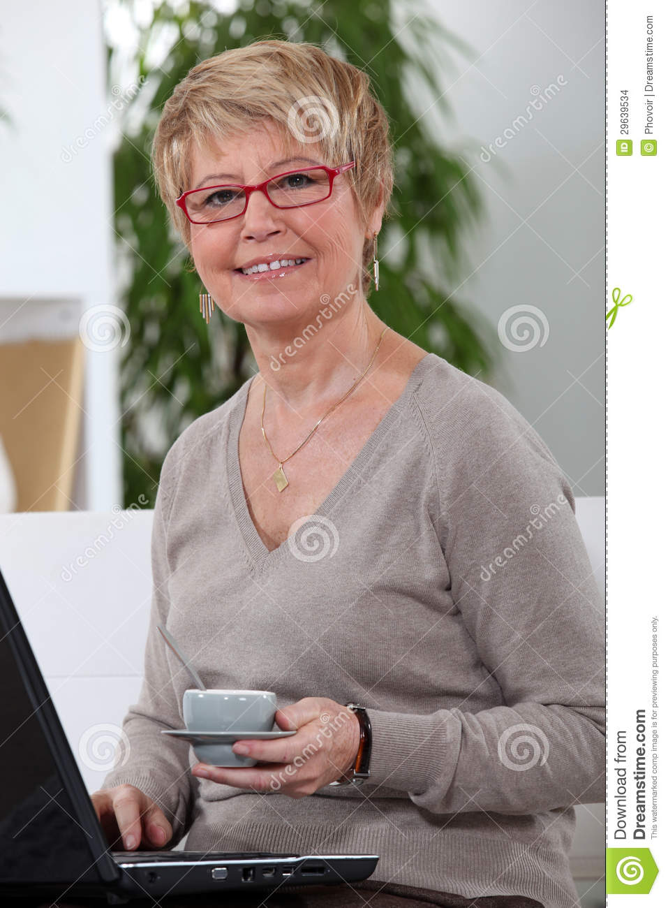 Middle-aged women drinking coffee