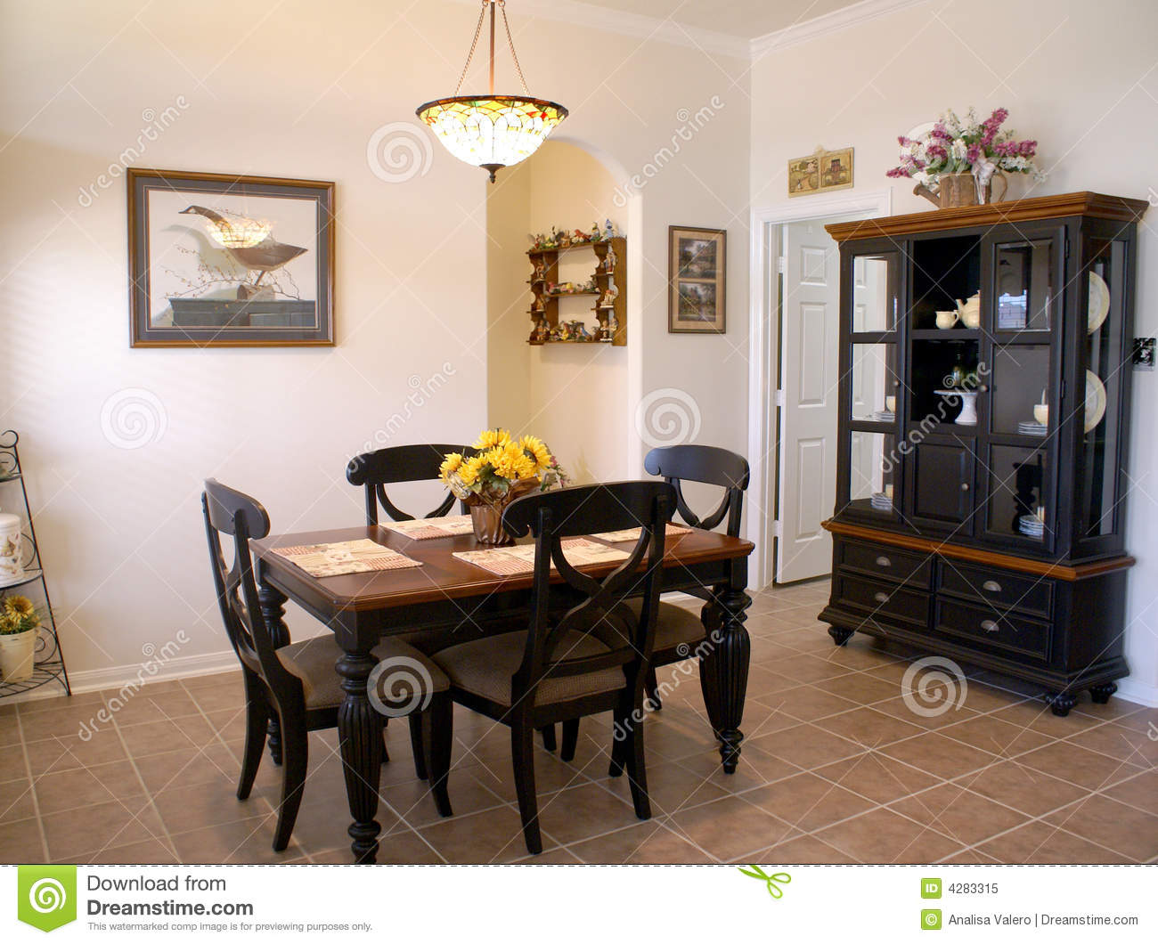 Average middle class dining room country style tile floor black