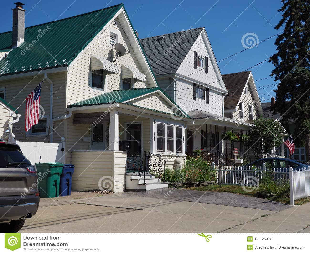 Middle Class Houses With American Flags Stock Image Image