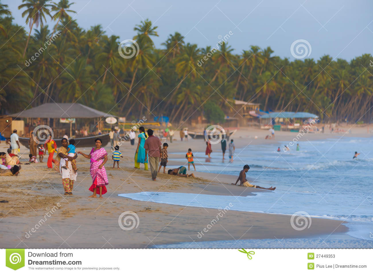 Middle Class Indian Tourists Goa Beaches Crowded Editorial Stock
