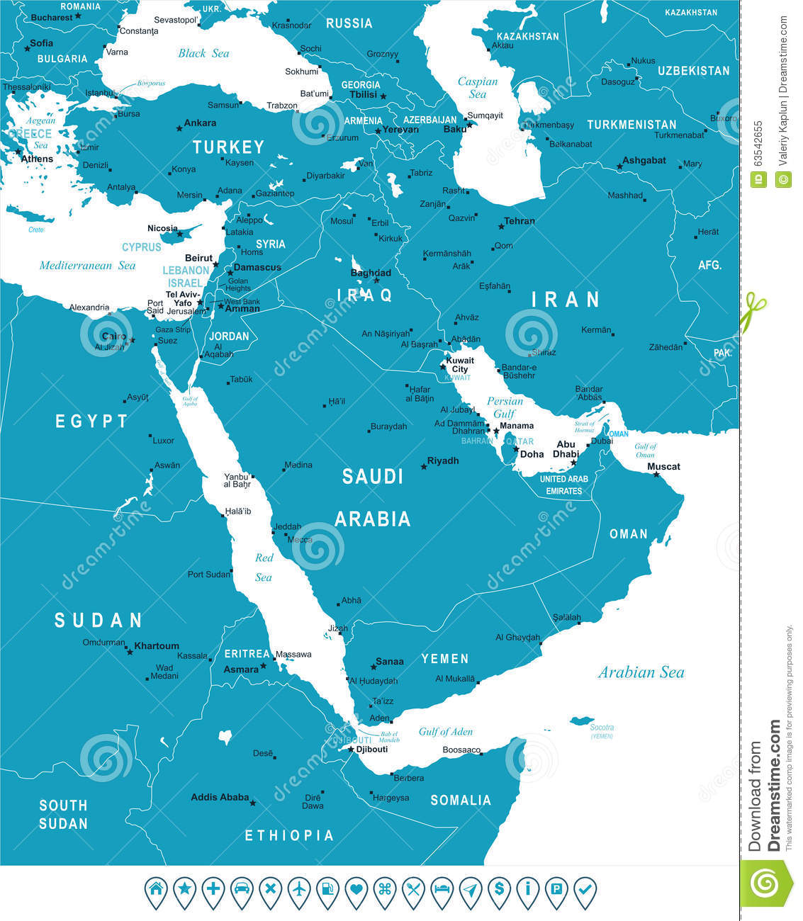 Middle East And Asia Map And Navigation Labels Illustration