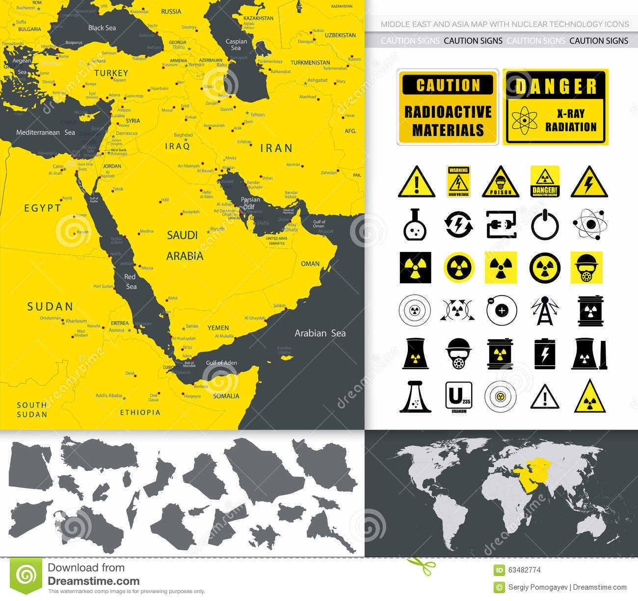 Middle East And Asia Map And Nuclear Technology Icons Stock Vector ...