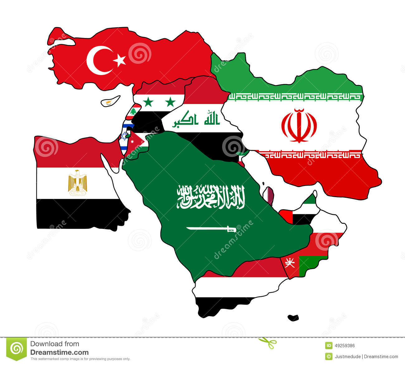 Map of the middle east with each country colored in with its flag.