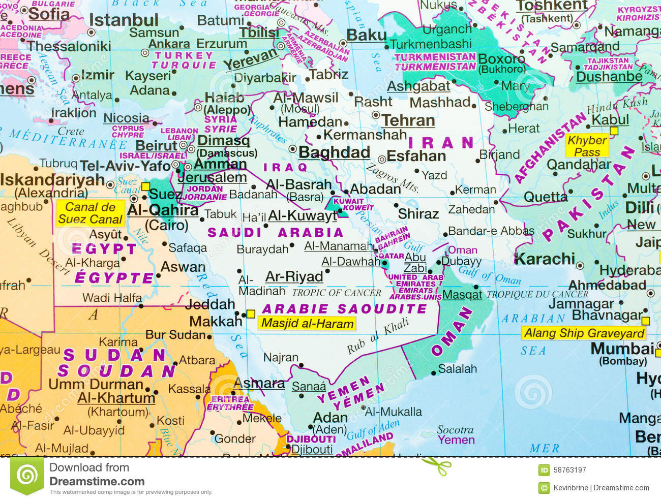 Middle East Map Stock Photo Image 58763197