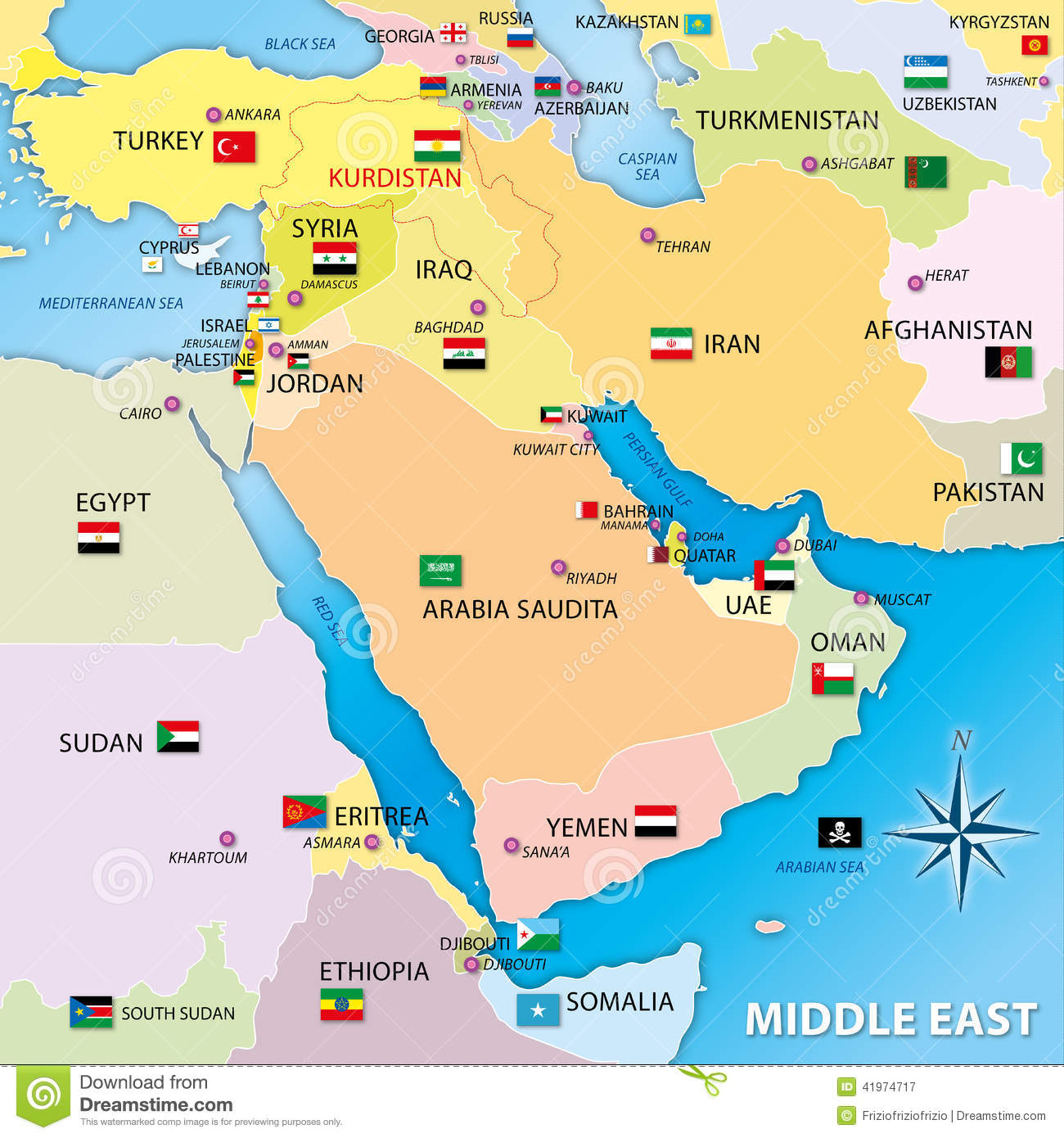 Middle east map with flags stock illustration. Illustration ...